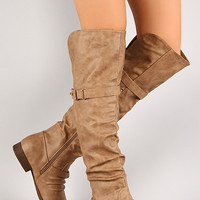 Step-22 Push Stud Slouchy Knee High Riding Boot