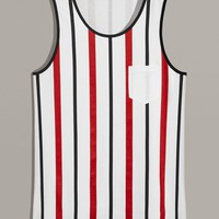 Men Contrast Trim Striped Tank Top