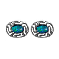 Sterling Silver Rhodium Plated Greek Meandros Key With Synthetic Opal Stud Earrings (10 x 14mm)