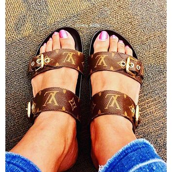 Louis Vuitton LV Metal buckle slippers shoes