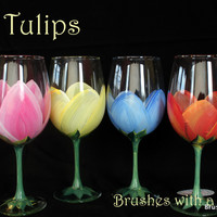Hand Painted Wine Glasses flowers great for birthday gift , christmas gifts ,weddings , Mother's Day Gifts