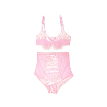 Sweet Pink Sugar Sequin Bralette and High Waisted Panties