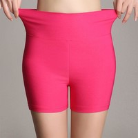 Summer new arrival fashion candy color stretch ladies high waist shorts 18 colors skinny thin plus size women shorts 2018