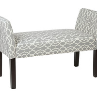 Office Star Kelsey Bench with Dark Espresso Legs and Abby Geo Grey Fabric [KLS20-G16]