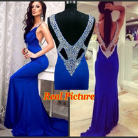 Real Picture New Fashion Sexy Designer 2015 Royal Blue Backless Prom Dresses Diamonds V Back Mermaid Formal Evening Gowns