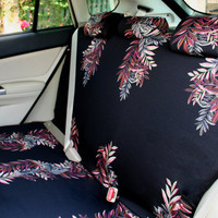 Car seat covers, colored leaves on black background, 4-piece set for REAR adult car seats