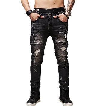 2017 High Quality Mens Ripped Biker Jeans   Cotton Black Slim Fit Motorcycle pants Men Vintage Distressed Denim  trousers