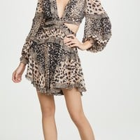 Animal Print Chiffon Cutout Mini Dress