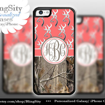 Monogram Iphone 5C case Browning iPhone 5s iPhone 4 case Ipod 4 5 Touch case Real Tree Camo Coral Personalized Country Girl