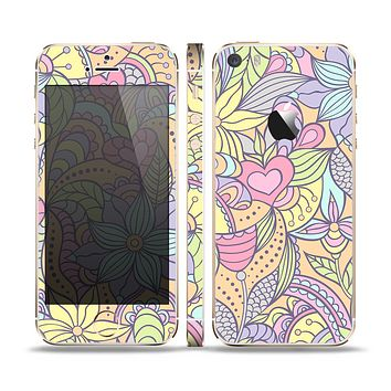The Subtle Abstract Flower Pattern Skin Set for the Apple iPhone 5s