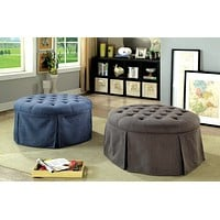 Aman Transitional Style Gray Ottoman