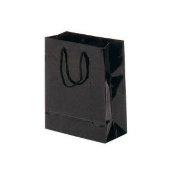 Store Supply | Wholesale Shopping Bags | Black Glossy Euro Tote Bag