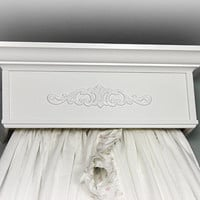 Bed Crown, Teester, Princess Canopy, Crib Crown, White, Decorative Scroll, Shabby Cottage Chic
