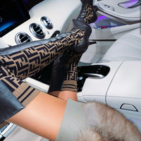 FENDI Logo-jacquard stretch-knit and leather over-the-knee boots High Heel