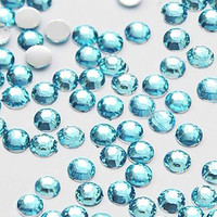 6mm 50 pieces Round Flat Back 14 facet cut Rhinestones  ----  Lake Blue