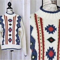 Chunky sweater size M / tribal Aztec sweater  / womens heavy knit cotton pullover sweater / warm winter sweater / 90s Lizwear