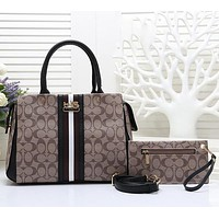 COACH Women Shopping Leather Tote Handbag Shoulder Bag Crossbody Set Two Piece