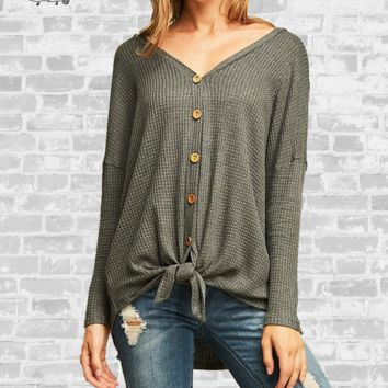 Tie Front Waffle Knit Top - Charcoal - Medium or Large only