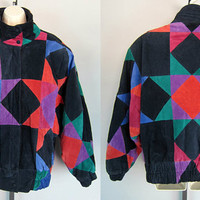 Vintage 80s Suede Leather Patchwork Bomber Jacket Abstract Multicolor Avant Garde size L