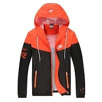 NIKE Popular Women Men Long Sleeve Print Hooded Zipper Coat Windbreaker Sportswear Black Orange