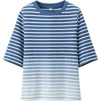 WOMEN PURE BLUE JAPAN SLUB STRIPE CREW NECK HALF SLEEVE T | UNIQLO