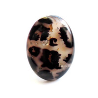 Vintage Confetti Lucite Ring Oversize Leopard Cheetah Animal Print Silver Foil Glitter Chunky Bold 1980s Style Acrylic Size 9