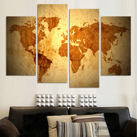 free shipping 4pcs abstract world map pictures canvas painting wall poster home room decor art decorative canvas unframed