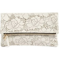 Clare V. Leather Lace Foldover Clutch   Nordstrom