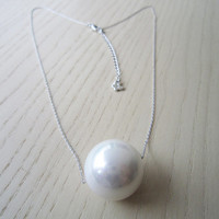 Silver necklace, pearl necklace large, simple, elegant, special gift
