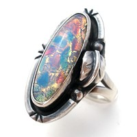Mexican Sterling Silver Faux Opal Ring Size 7
