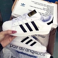 """""""Adidas"""" Classic of Any Age Fashion White Shell-toe Flats Sneakers Sport Shoes"""