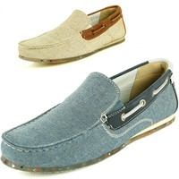GBX Mens Boat Shoes Slip On Loafers Double Gore Moc Toe Fabric Comfort Moccasins