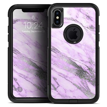 Purple Marble & Digital Silver Foil V10 - Skin Kit for the iPhone OtterBox Cases
