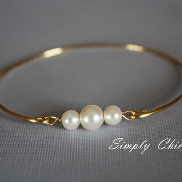 Three pearls Gold Bangle Bracelet Nautical jewelry