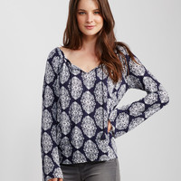 Damask Print Flowy Peasant Top