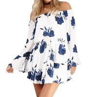 Floral Boho Printing Summer Women's Playsuits Beach Sexy Off the Shoulder Loose Jumpsuits Flare Sleeve Playsuits Overalls GV653