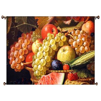 Fruit Basket Kitchen Picture on Canvas Hung on Copper Rod, Ready to Hang, Wall Art Décor