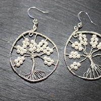 Pearls and Silver Tree of Life Drop Earrings