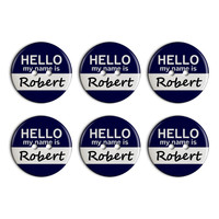 Robert Hello My Name Is Plastic Resin Button Set of 6