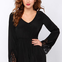 New Traditions Black Long Sleeve Romper