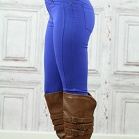 Royal Blue 5 Pocket Stretch Skinny Pants