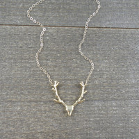 14k gold filled chain with anti-tarnish matte gold plated brass deer antler charm necklace / bridesmaid / dainty / minimalist / layering