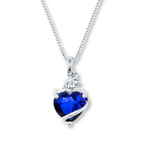 Blue & White Lab-Created Sapphire Sterling Silver Necklace