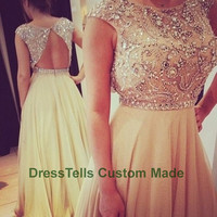 Long Sweet 16 Dress / Prom Dress 2014 / Beaded Evening Dress / Party Dress / /Homecoming Dress/Graduation Dress/Formal Dress