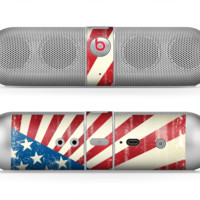 The Vintage Tan American Flag Skin for the Beats by Dre Pill Bluetooth Speaker