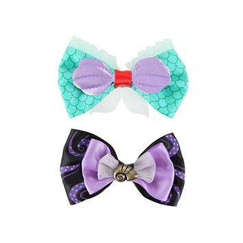 Licensed cool Disney Little Mermaid ARIEL & URSULA Shell Hair Bow Cosplay Costume Dress Up 2PK