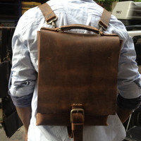Muddled leather back pack handmade in New York by Aixa