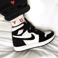 Nike Air Jordan Retro 1 Fashion High Top Contrast Sports Shoes Sneakers White&Black