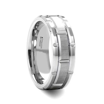 WARWICK Beveled Tungsten Carbide Wedding Band with Brush Finished Center and Alternating Grooves - 8mm