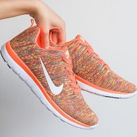 NIKE Fashion Casual Running Sport Shoes Sneakers orange-white hook